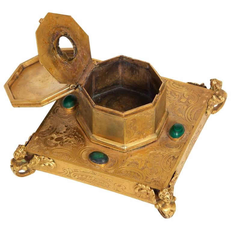 Inkwell, Gilt Brass, with Malachite Inlay, 1850s Russian