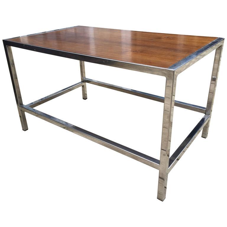 Dunbar Chrome and Walnut Occasional Table