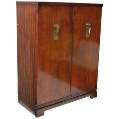 Mid-Century Bar or Storage Cabinet with Brass Deco Pulls