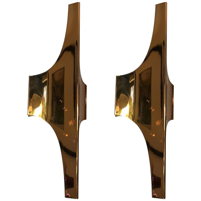 Pair of Golden 1970s Doria Space Age Wall Lights For Sale