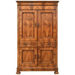 Antique French Louis Philippe Style Four-Door Armoire