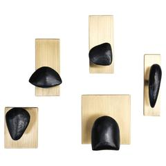 Set of Five Tallomet Coat Hooks in Solid Brass