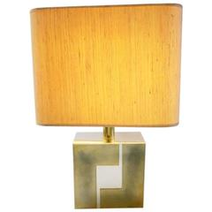 Graphical Brass and Chrome Lamp by Willy Rizzo, 1970s