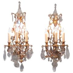 Pair of 19th Century French Louis XIV Tall Bronze Dore and Crystal Sconces