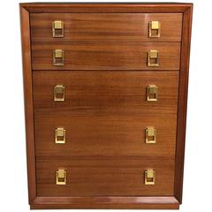 Mid-Century Gilbert Rohde Tall Mahogany Chest of Drawers