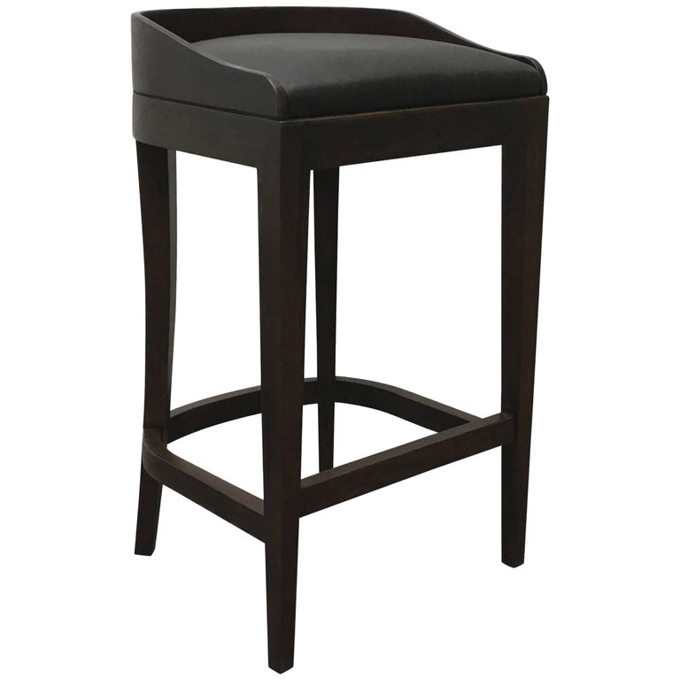 Pia Stool in Argentine Rosewood and Wrapped Leather from Costantini For Sale