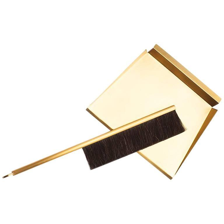Sweep Dust Pan and Brush with Wall Mount Peg, Made of Brass and Horsehair Brush For Sale