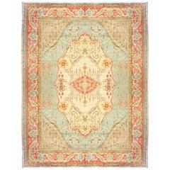 Antique Turkish Oushak Oriental Carpet, Mansion Size, w/ Medallion & Soft Colors