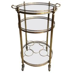 Circular Vintage French Brass Drinks Trolley or Cart