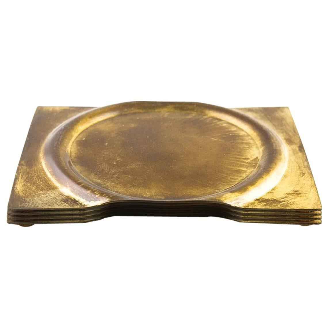 Coasters Set of Four. Formed from Brass Sheets and Handcrafted in Chicago