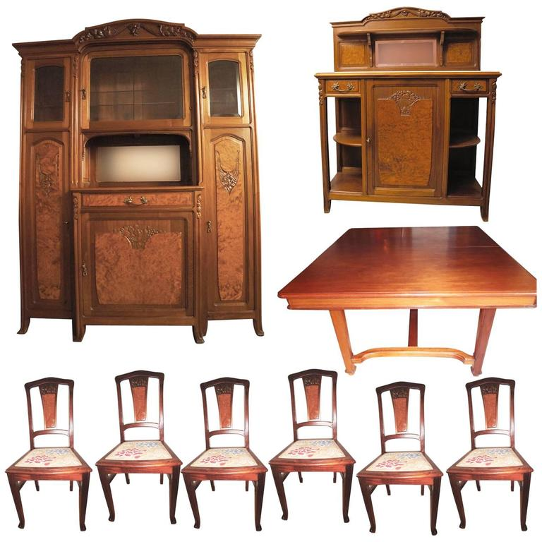 Rare french art nouveau complete dining room set 1900s for Complete dining room sets