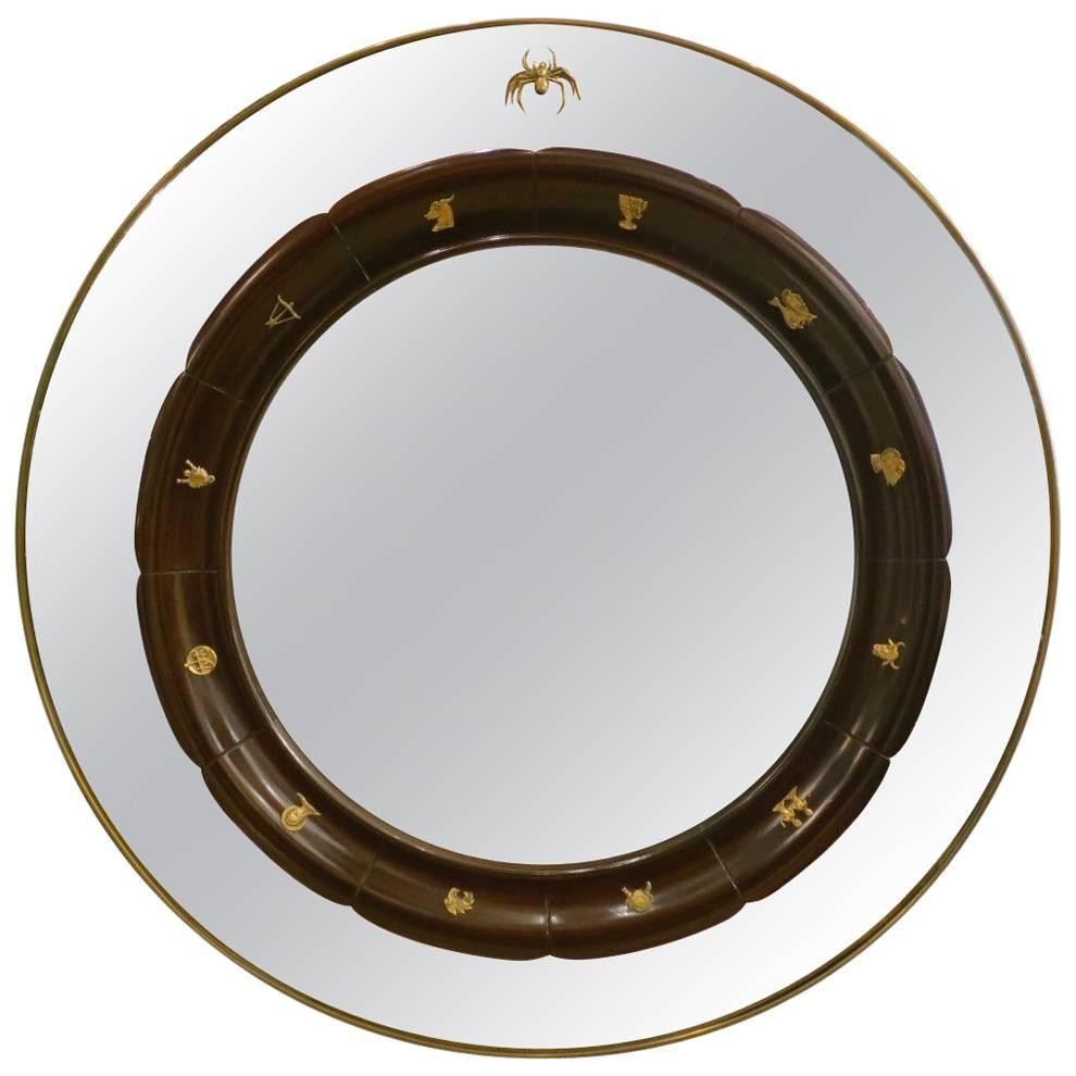 Circular Brass Framed Italian Mirror by Fratelli Marelli