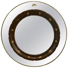 Circular Brass Framed Italian Mirror by Fratelli Marelli