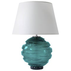 Handblown Blue Green Glass Gemini Table Lamp, ANDREW HUGHES