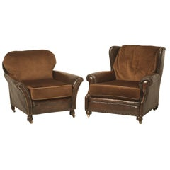Original Leather and Mohair Club Chairs Perfect for Taller Men and Women