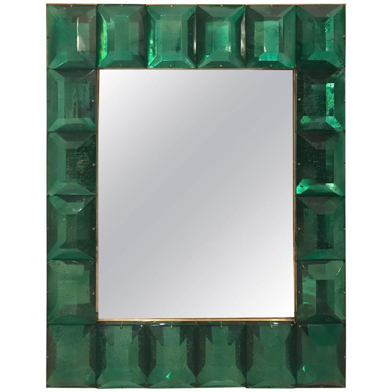 Modern Italian Emerald Green Faceted Glass Mirror 1