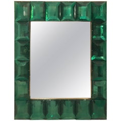Customizable Faceted Murano Glass Mirror in Emerald Green
