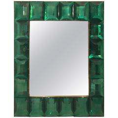 Modern Italian Emerald Green Faceted Glass Mirror