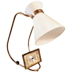 French Adjustable Table Lamp with Clock