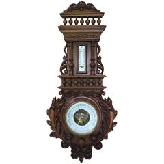 19th Century Carved Walnut Barometer with Thermometer in Centigrade