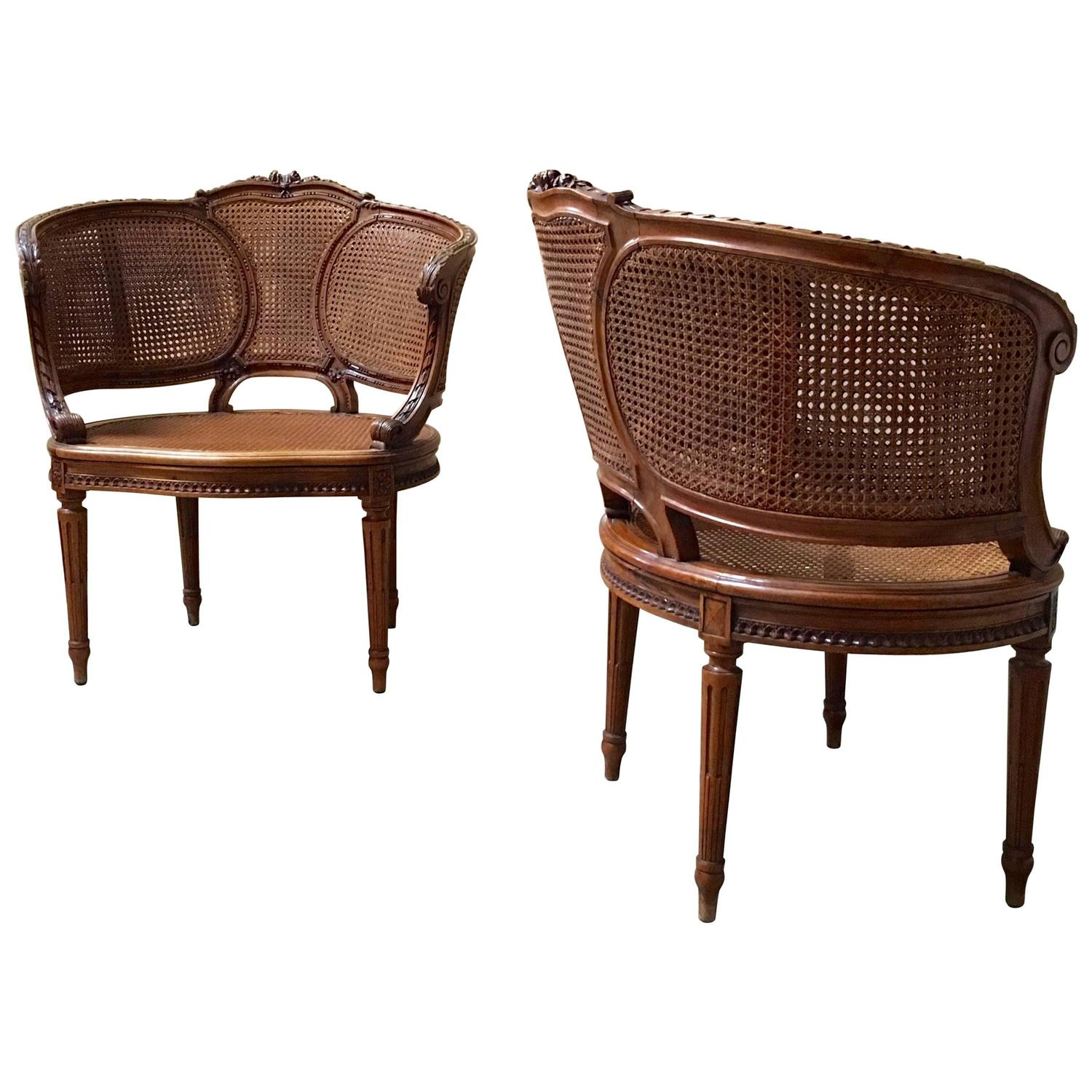 Louis XVI Style Double Cane Chairs For Sale at 1stdibs