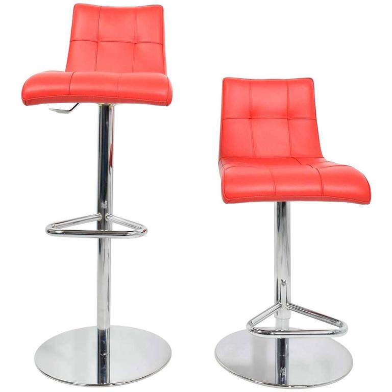 Pair Of Italian Made Red Leather Adjule Swivel Bar Stools For