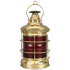 Large Solid Brass Ship's Lantern
