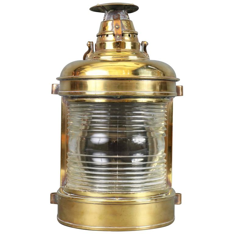 Outstanding Solid Brass Ship's Lantern For Sale