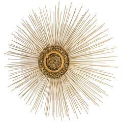 Brass Sunburst Wall Sculpture by Curtis Jere, USA, circa 1970s