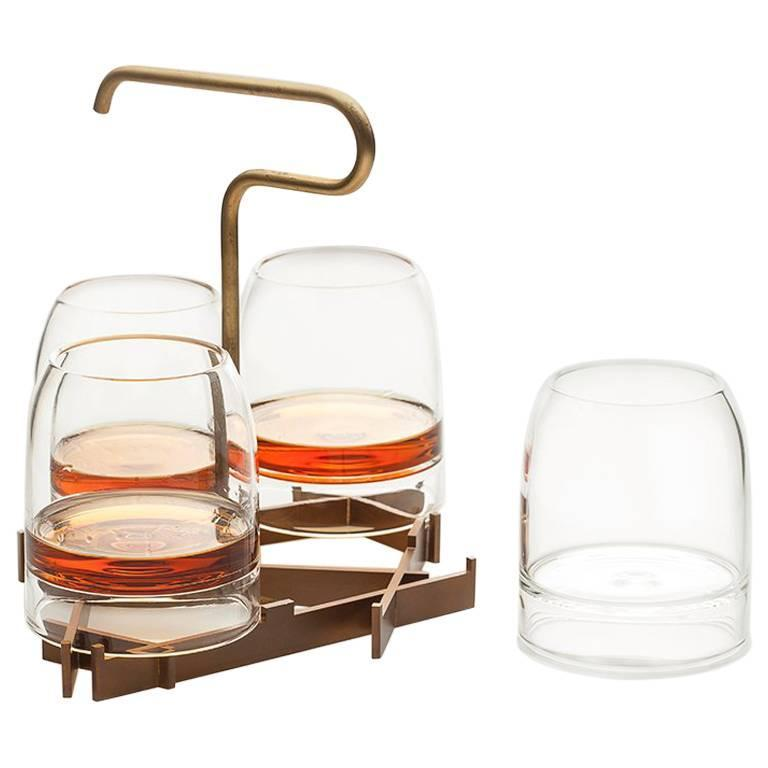 Rare Whiskey Glass with Presenter, Includes Presenter and Four Set of Glasses For Sale