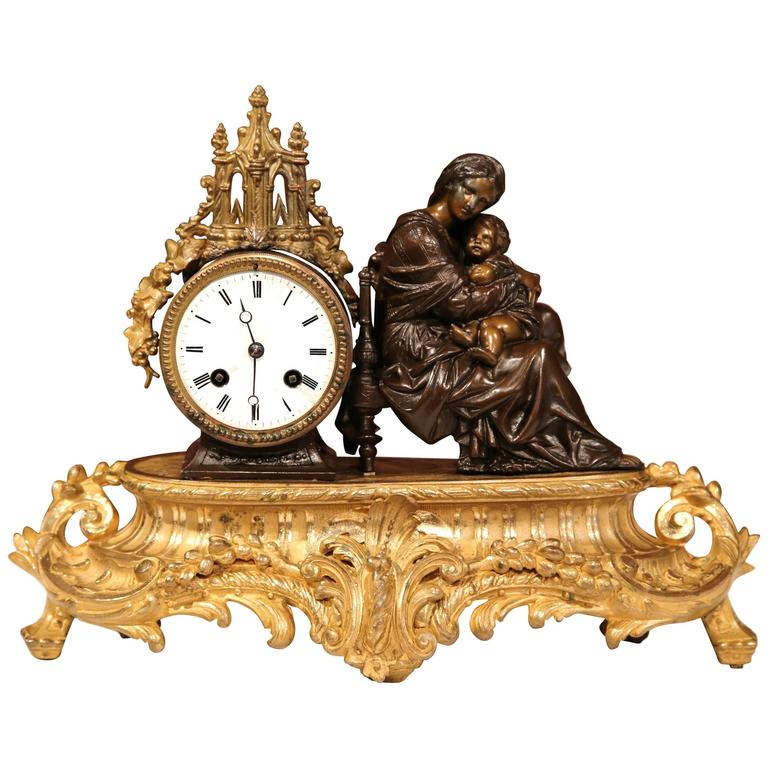 19th Century French Louis XV Bronze Mantel or Desk Clock with Mother and Child