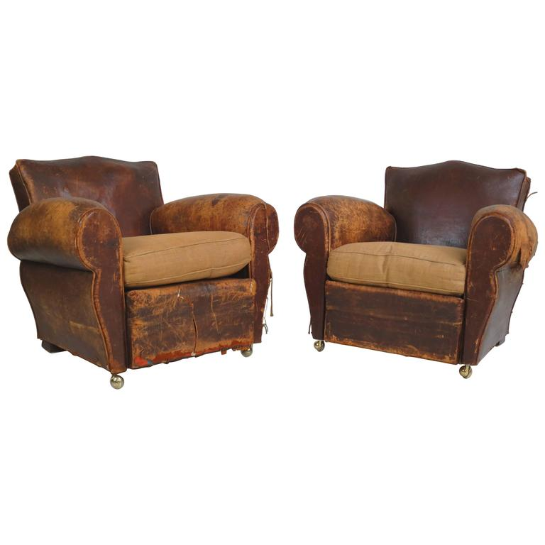 pair of french art deco club chairs for sale at 1stdibs
