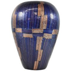 Cobalt and Gold Art Glass Vase by Massimo Nordio, circa 1947