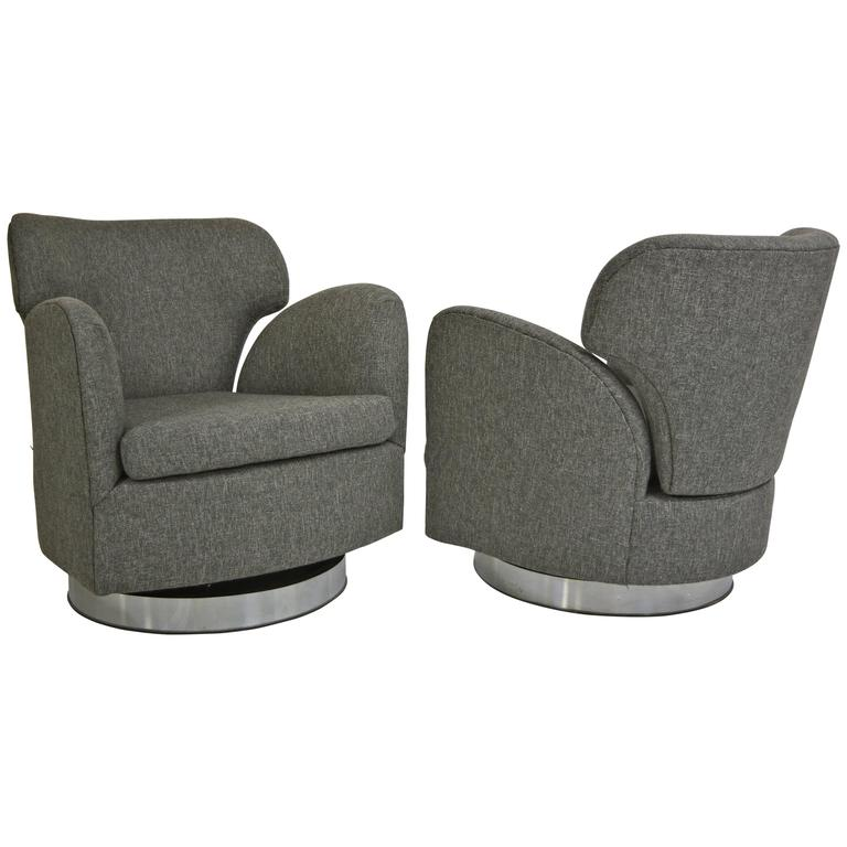 Pair of Swivel Milo Baughman Club Chairs