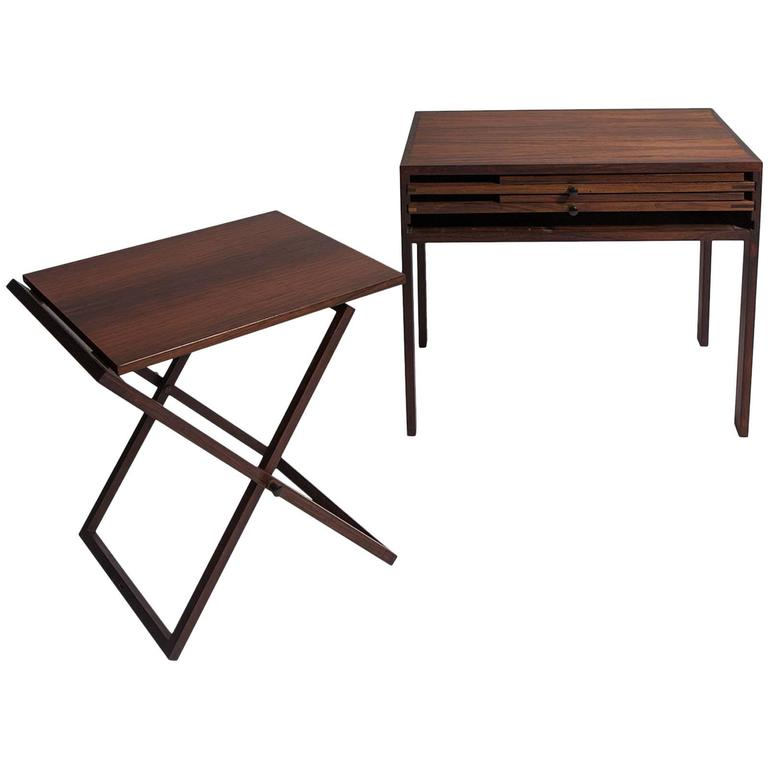 Set of Three Rosewood Tables Stored in Side Table, Illum Wikkelso Silkborg 1