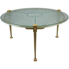 Brass and Glass Coffee Table, France, 1980's