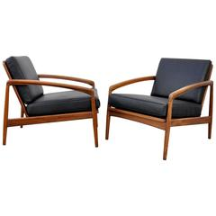 Pair of Kai Kristiansen Paper Knife Black Leather and Teak Lounge Chairs