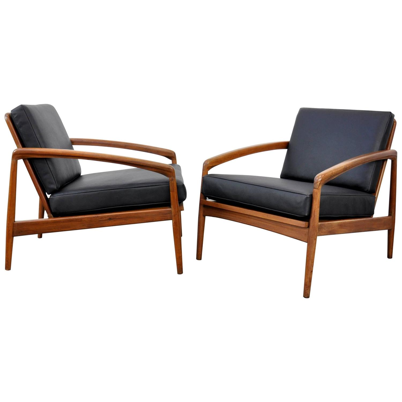 Bauhaus tubular steel lounge chair at 1stdibs - Pair Of Kai Kristiansen Paper Knife Black Leather And Teak Lounge Chairs