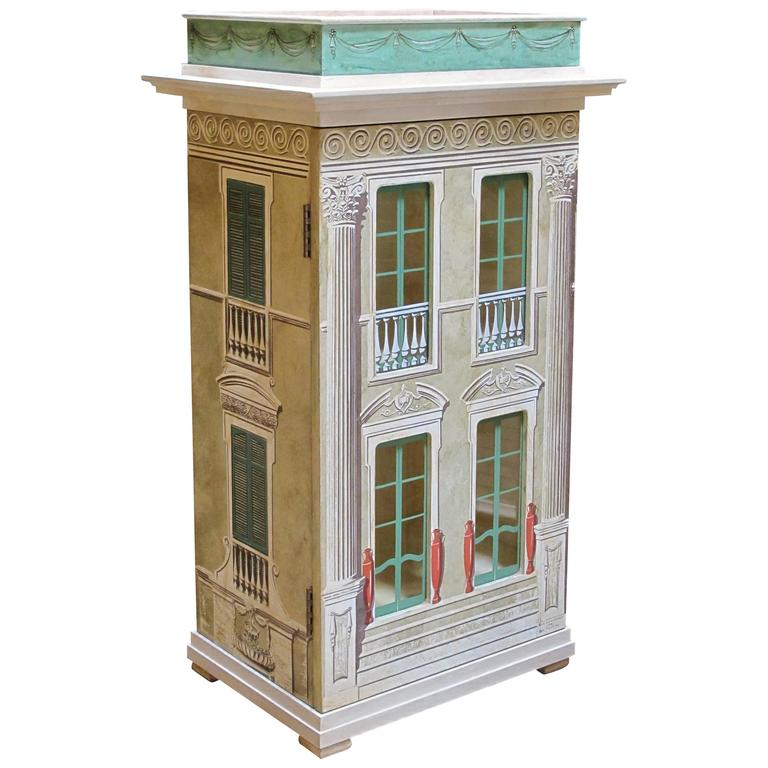 Masterfully crafted wooden and silk screen dollhouse cabinet signed eric lansdown for sale at - Eric dupond moretti cabinet ...
