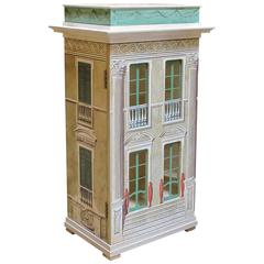 Masterfully Crafted Wooden & Silk-Screen Dollhouse/Cabinet Signed Eric Lansdown