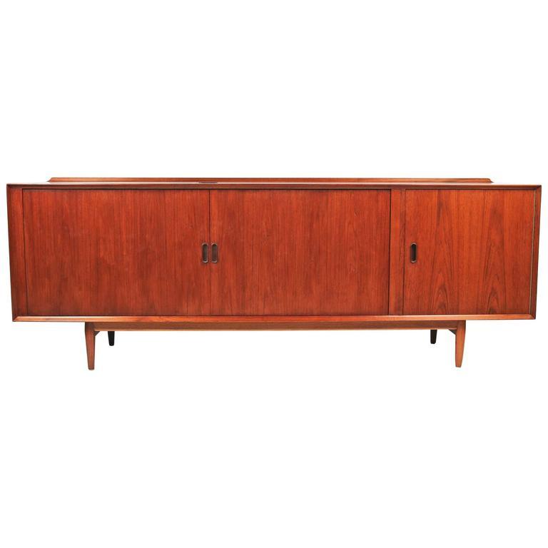 Arne Vodder Danish Modern Tambour Door Stereo or Media Cabinet for Sibast 1