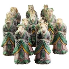 Important Ancient Chinese Ming Zodiac Complete Collection Sculptures, 1368-1644