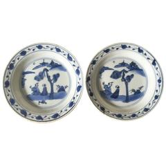Early 17th Century Pair of Chinese Porcelaine Ko Sometsuke Dishes Tianqi