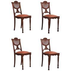 French Art Nouveau Walnut Side Chairs
