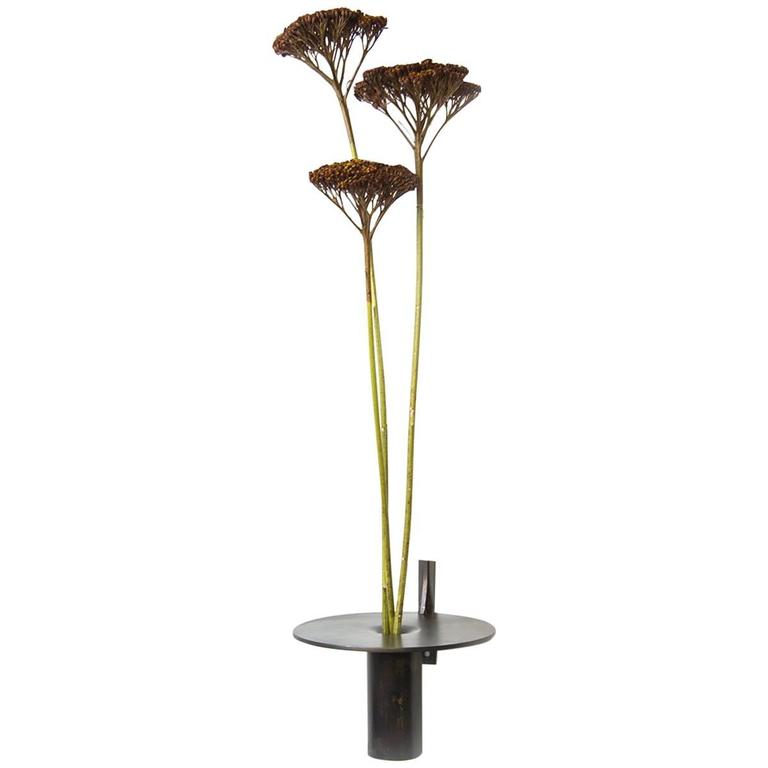 Wall Vase Made of Brass, Handcrafted in Chicago, Designed by Christopher Gentner