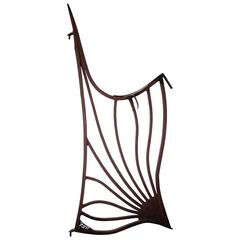 Custom-Crafted Art Nouveau Style Wrought Iron Gate with Stylized Flower
