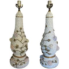 Pair of German Schneeballen Porcelain Covered Lamps