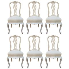 Set of Six Antique French 19th Century Louis XV Dining Chairs