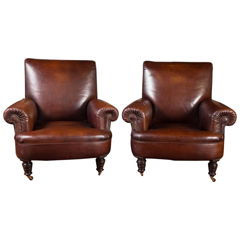 English Leather Club Chairs