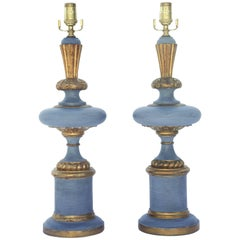Pair of Painted and Parcel-Gilt Italian Table Lamps